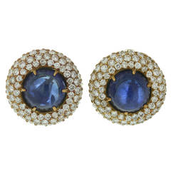1980s Harry Winston Exquisite Blue Sapphire Diamond Gold Dome Earrings