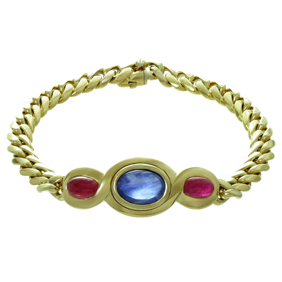 1980s Bulgari Classic Sapphire Ruby Gold Link Interchangeable Bracelet Necklace