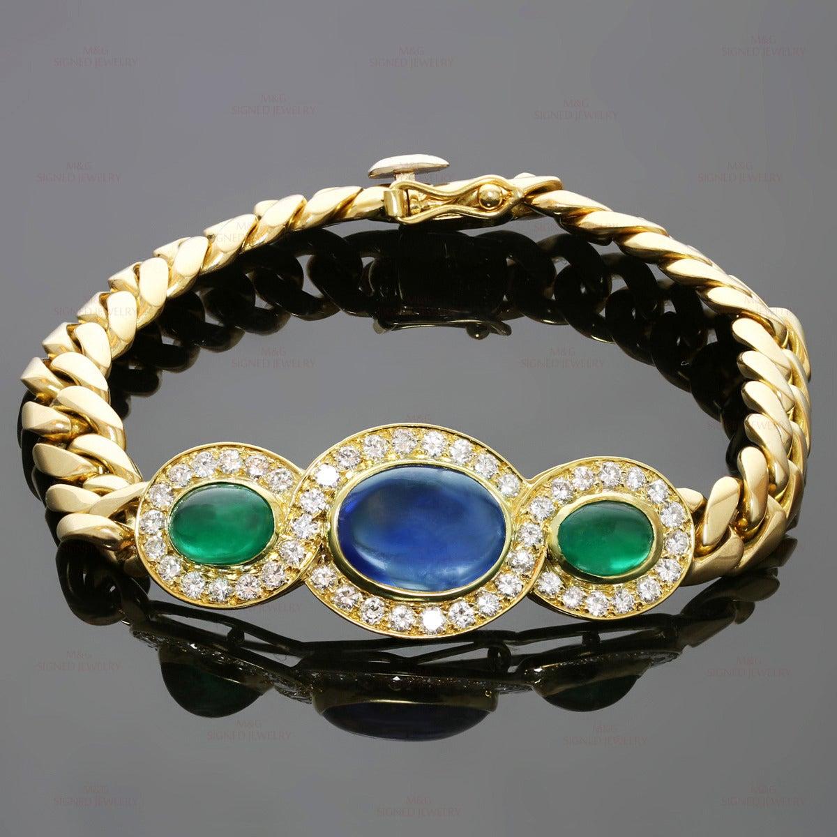 1980s Bulgari Fabulous Sapphire Emerald Diamond Gold Link Bracelet 6
