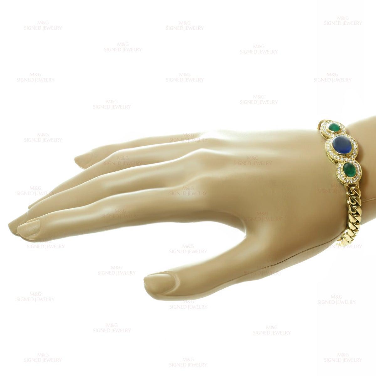 1980s Bulgari Fabulous Sapphire Emerald Diamond Gold Link Bracelet 5