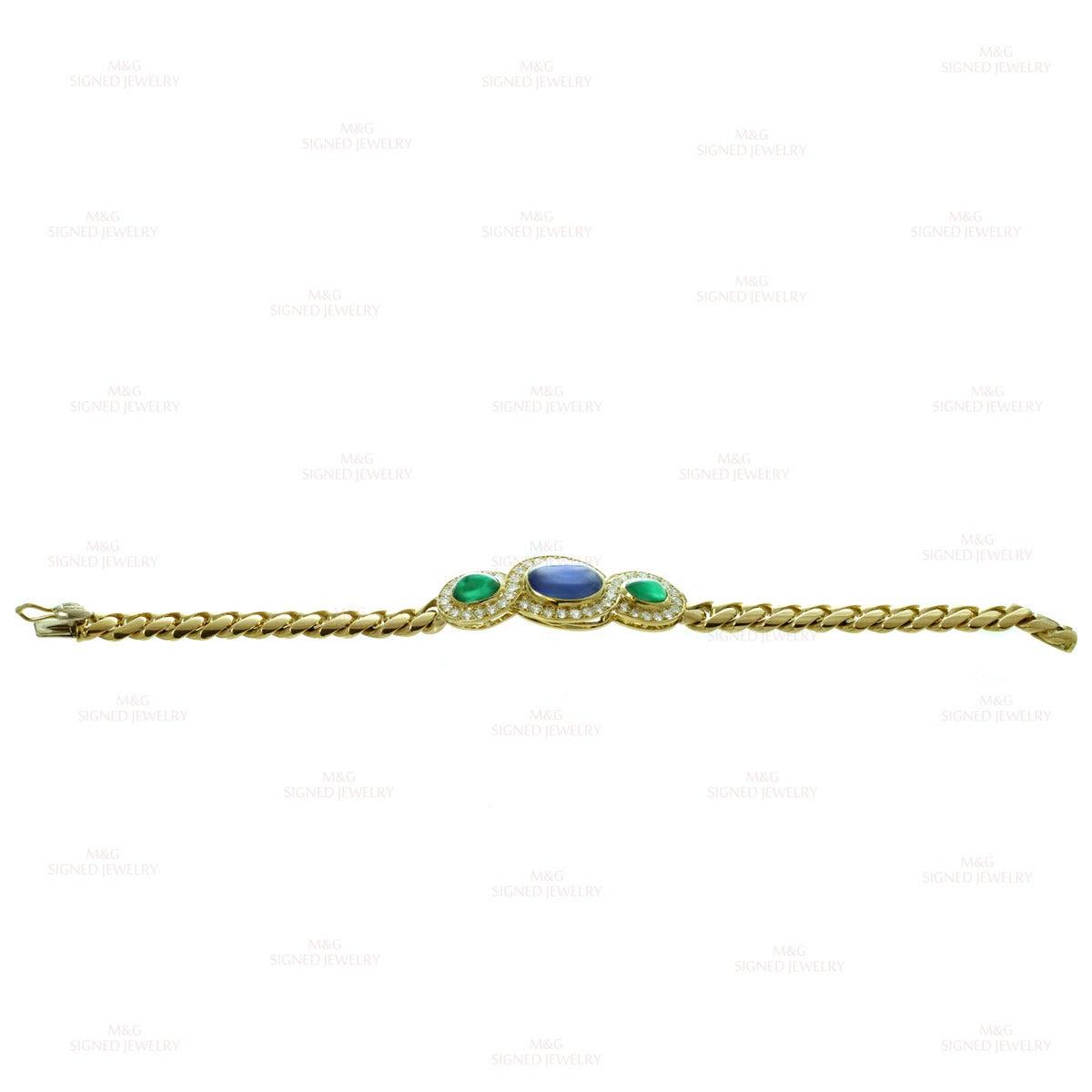 1980s Bulgari Fabulous Sapphire Emerald Diamond Gold Link Bracelet 4
