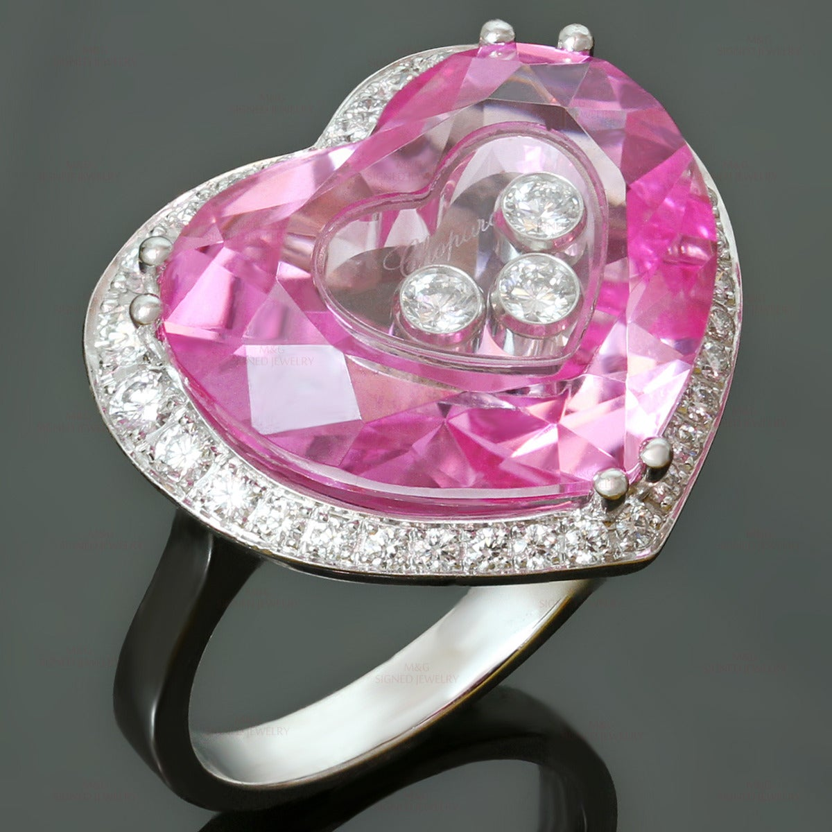 Chopard Happy Diamond Pink Quartz Gold Heart Ring For Sale at 1stdibs