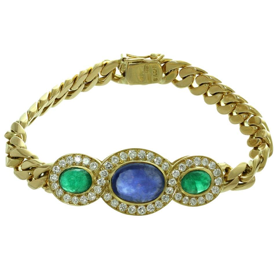 1980s Bulgari Fabulous Sapphire Emerald Diamond Gold Link Bracelet 1
