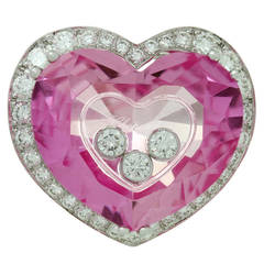 Chopard Happy Diamond Pink Quartz Gold Heart Ring