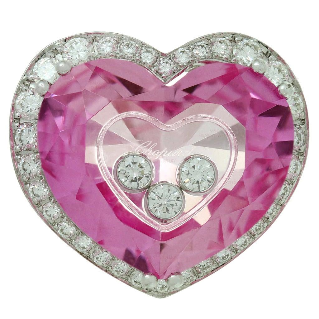 Chopard Happy Diamond Pink Quartz Gold Heart Ring at 1stdibs