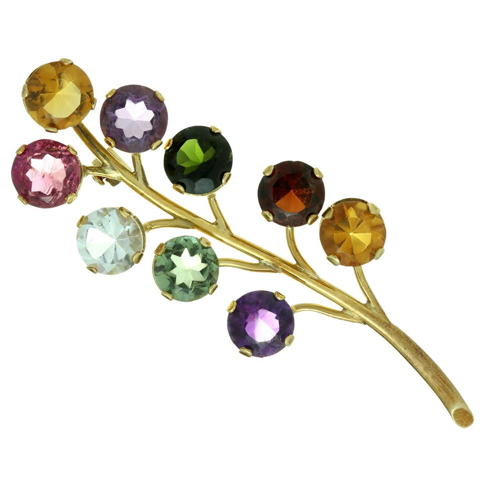 1980s Genuine Multicolor Gemstone Gold Floral Brooch