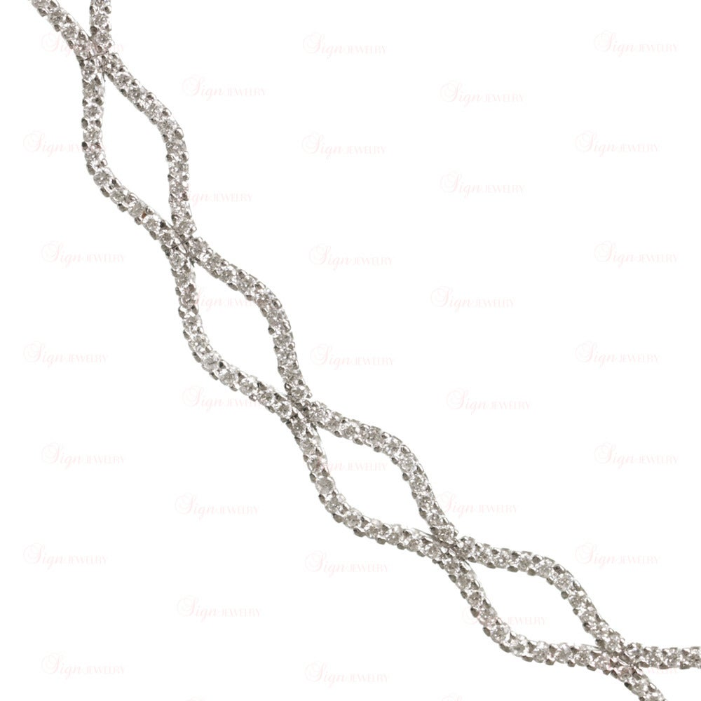Diamond Marquise Link Gold Evening Necklace 5