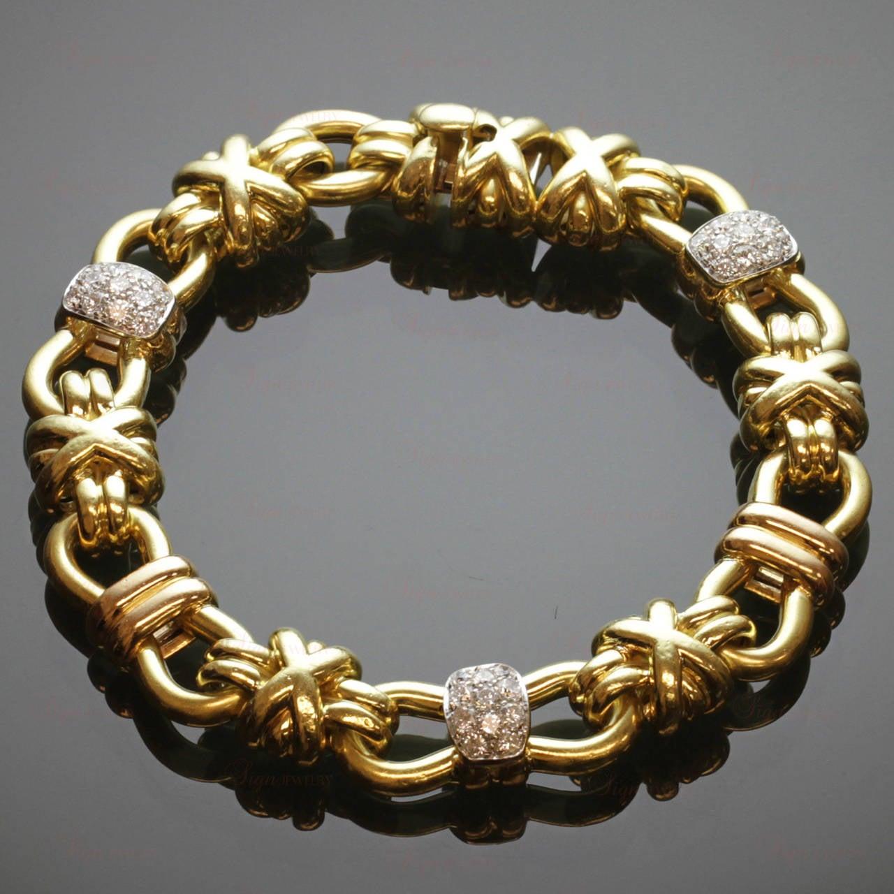 Gold Italy Platinum: 1980s Italian Diamond Gold Link Bracelet For Sale At 1stdibs