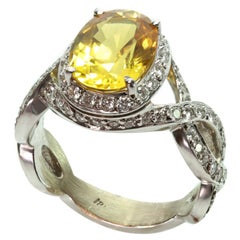 Oval Yellow Sapphire Diamond Gold Cocktail Ring