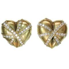 1980s Diamond Brushed Gold Heart Earrings