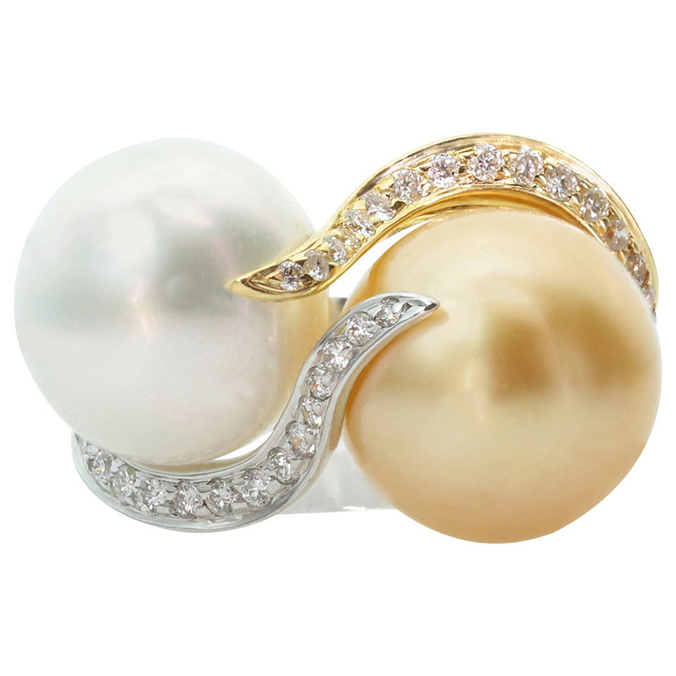 Diamond White and Yellow South Sea Pearl Two-Tone Gold Ring For ...