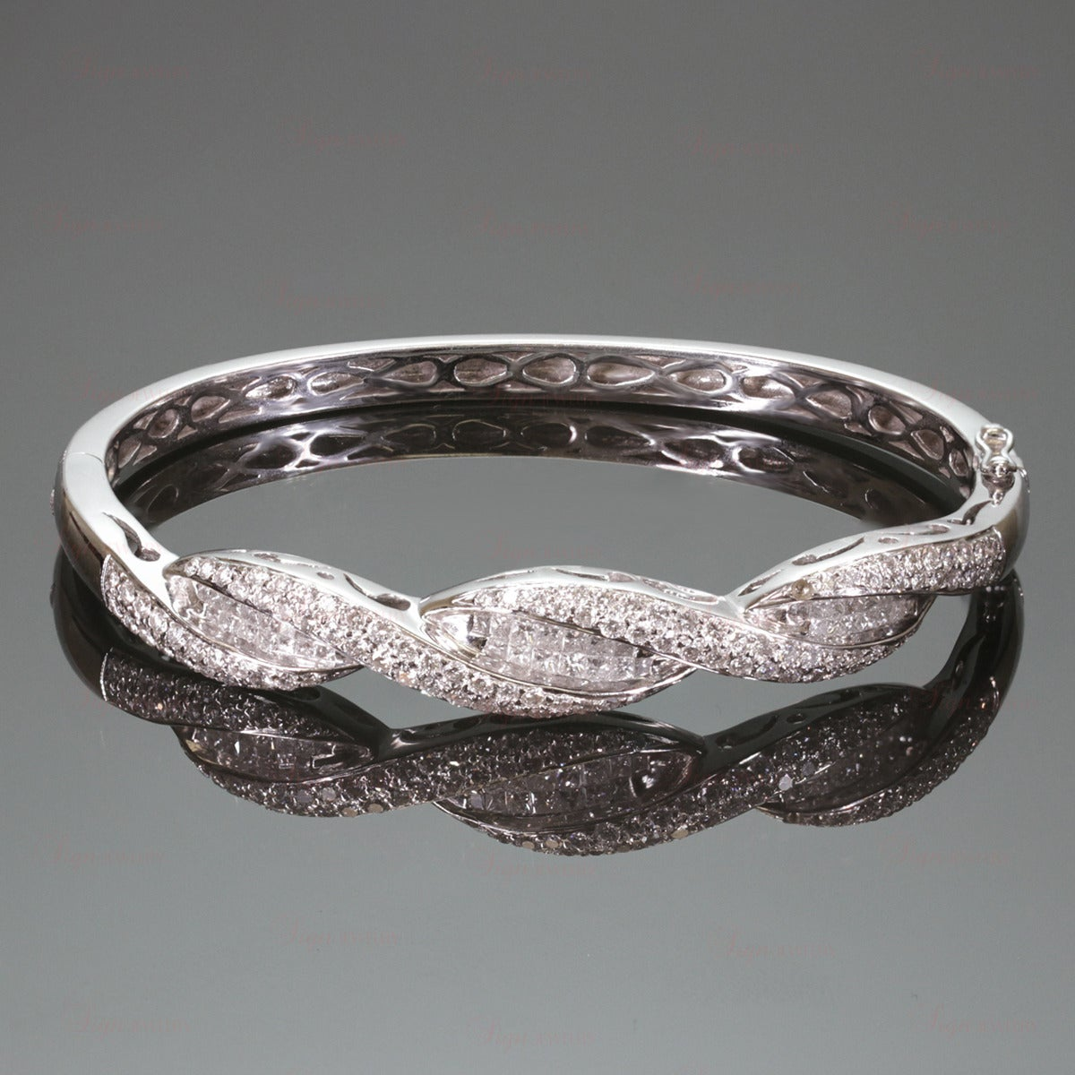 Diamond White Gold Bangle Bracelet at 1stdibs