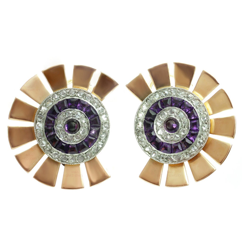 1940s Diamond Amethyst Platinum-Topped Rose Gold Earrings