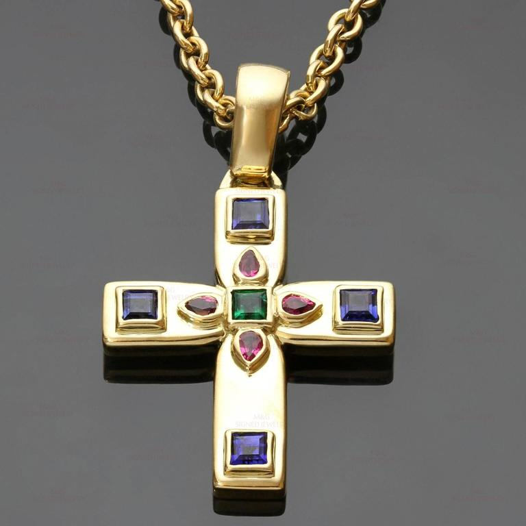 Cartier byzantine multicolor gemstone gold cross pendant necklace this magnificent cartier enhancer cross pendant necklace is crafted in 18k yellow gold and set with aloadofball