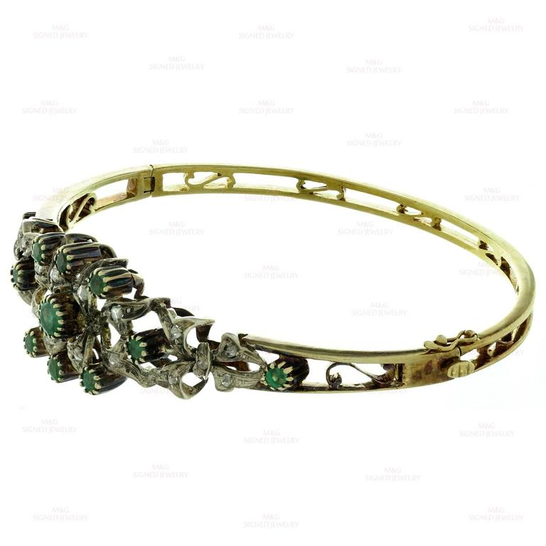 1950s Emerald Rose-Cut Diamond Sterling Silver Gold Bracelet 5