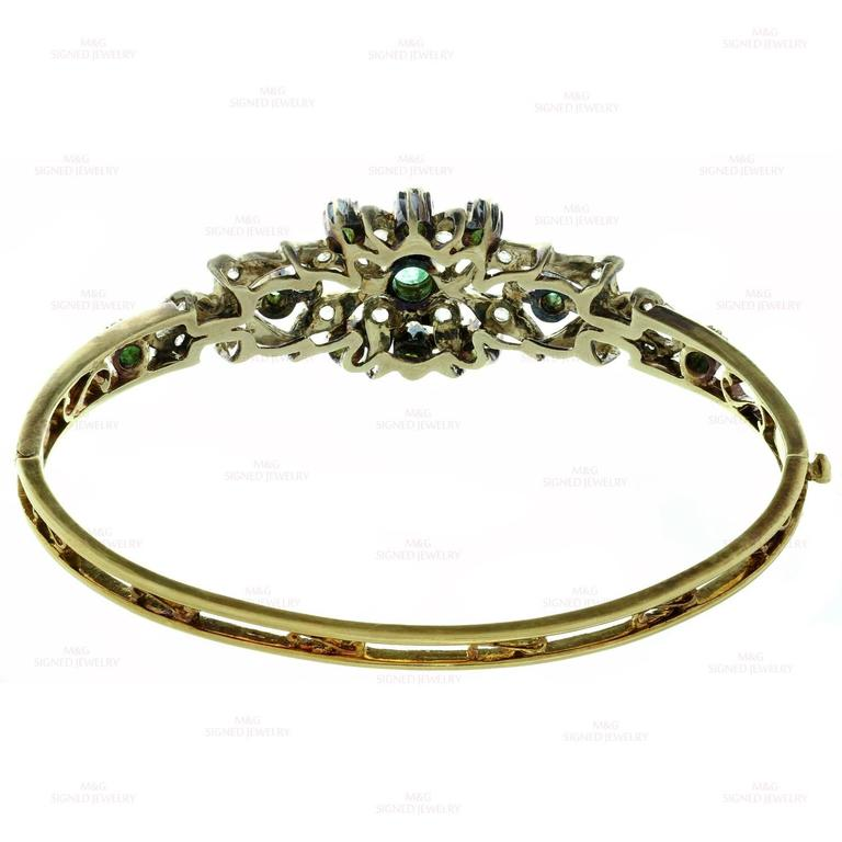1950s Emerald Rose-Cut Diamond Sterling Silver Gold Bracelet 6
