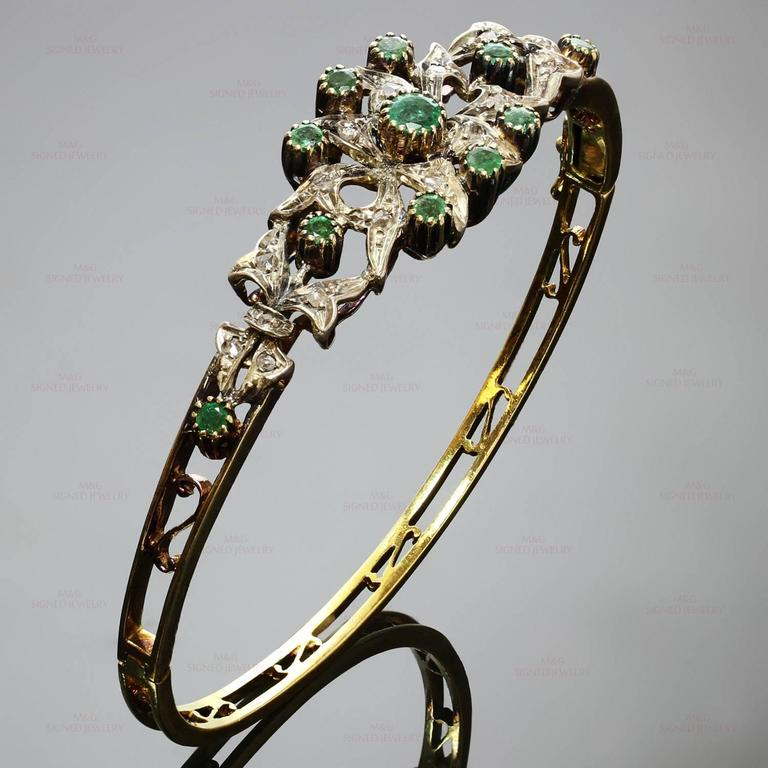 1950s Emerald Rose-Cut Diamond Sterling Silver Gold Bracelet 2