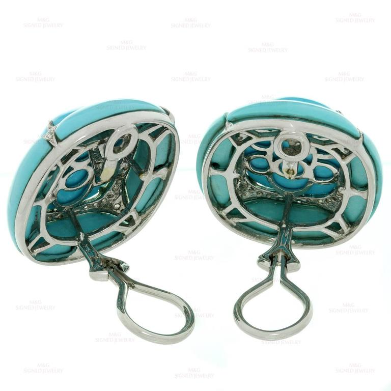 Diamond Turquoise Gold Clip-on Earrings For Sale 2