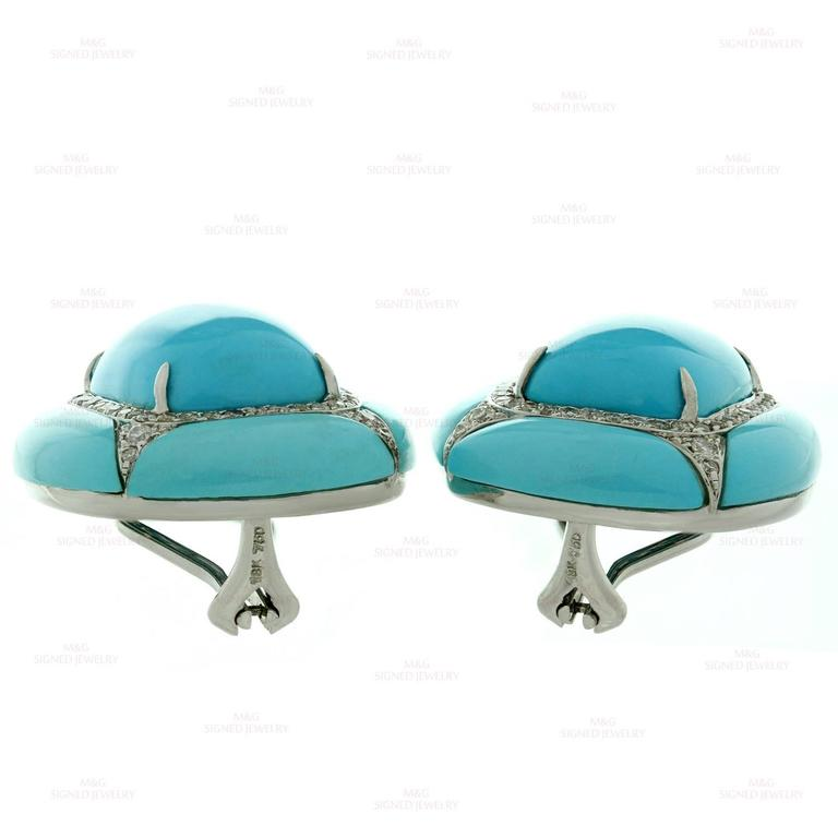 Diamond Turquoise Gold Clip-on Earrings For Sale 1