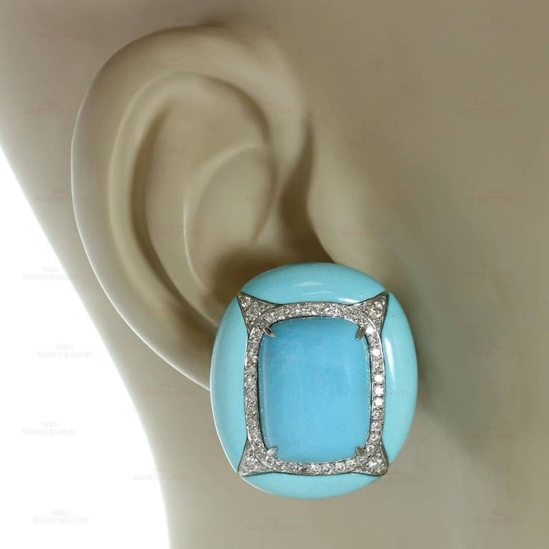 Women's Diamond Turquoise Gold Clip-on Earrings For Sale