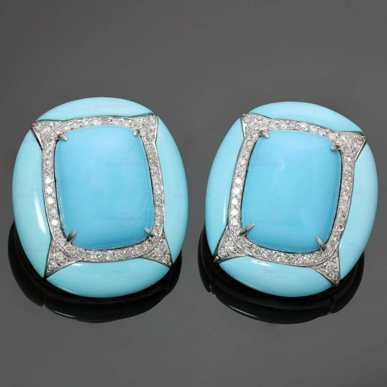 "These fabulous clip-on earrings are crafted in 18k white gold and set with pressed turquoise stones and round brilliant-cut diamonds of an estimated 1.0 carat. Made in United States. Measurements: 0.90"" (23mm) width, 1.02"" (26mm) length."