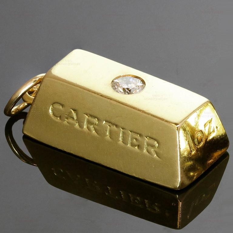 Perfect Cartier Diamond Gold 1 Ounce Solid Ingot Bar Pendant Charm For  SY98