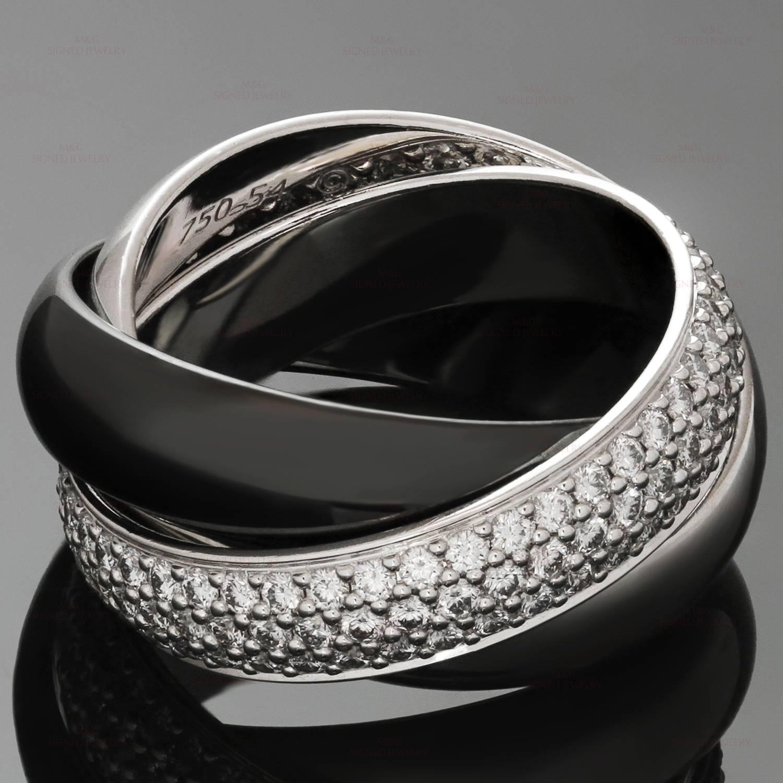 cartier trinity large black ceramic diamond gold ring for