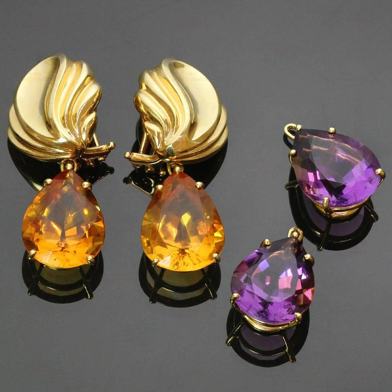 These stunning Tiffany earrings were designed by Paloma Picasso and feature removable gemstone drops for day and night looks. The clip-on earrings are crafted in 18k yellow gold and completed with faceted pear-shaped amethyst and citrine drops. Made
