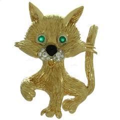 1960s Van Cleef & Arpels Diamond Gold Cat Brooch