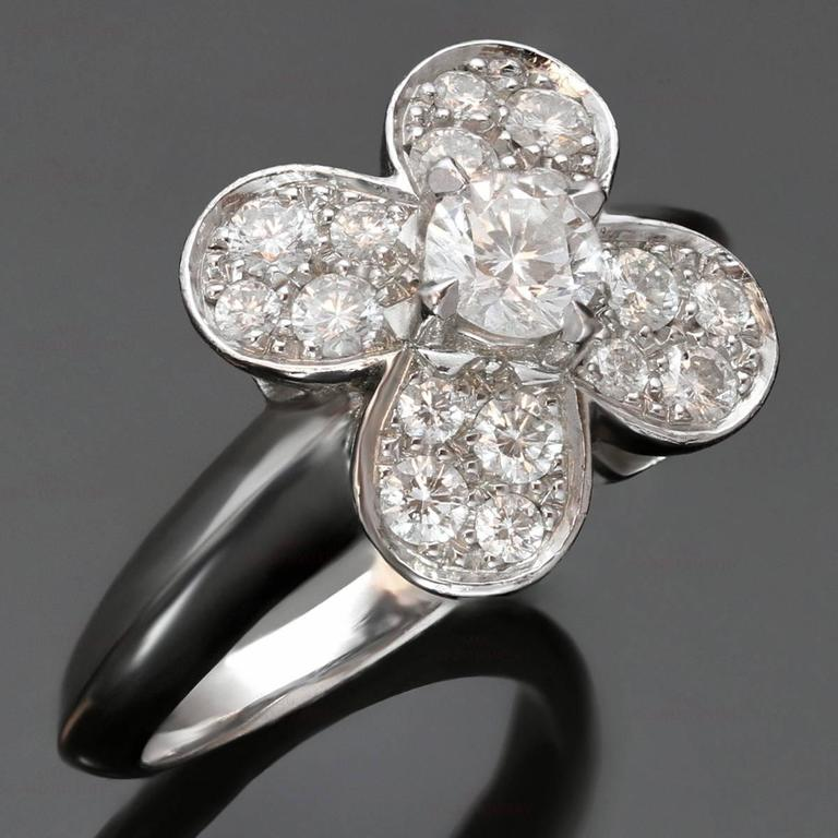 This stunning Van Cleefs & Arpels ring from the classic Trefle collection is made in 18k white gold and features a clover motif set with brilliant-cut round diamonds of an estimated 0.75 carats. Made in France circa 2010s. Measurements: