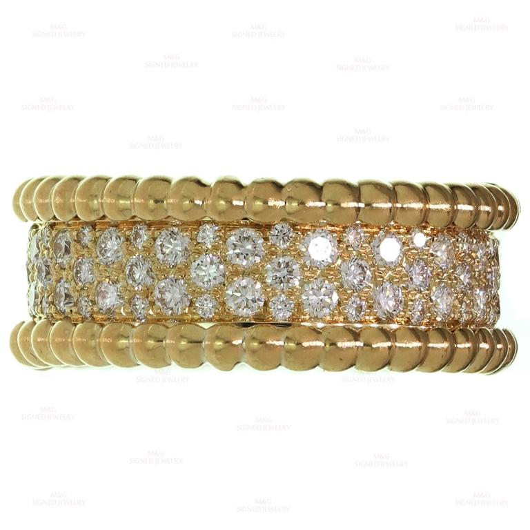 Women's Van Cleef & Arpels Perlée Diamond Gold Band Ring For Sale