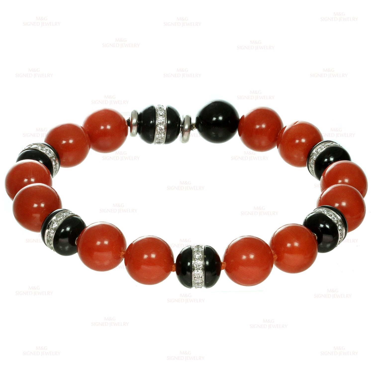 6622cd4b7 Tiffany and Co. Natural Oxblood Coral Onyx Diamond Bead Bracelet Pair or  Necklace For Sale at 1stdibs