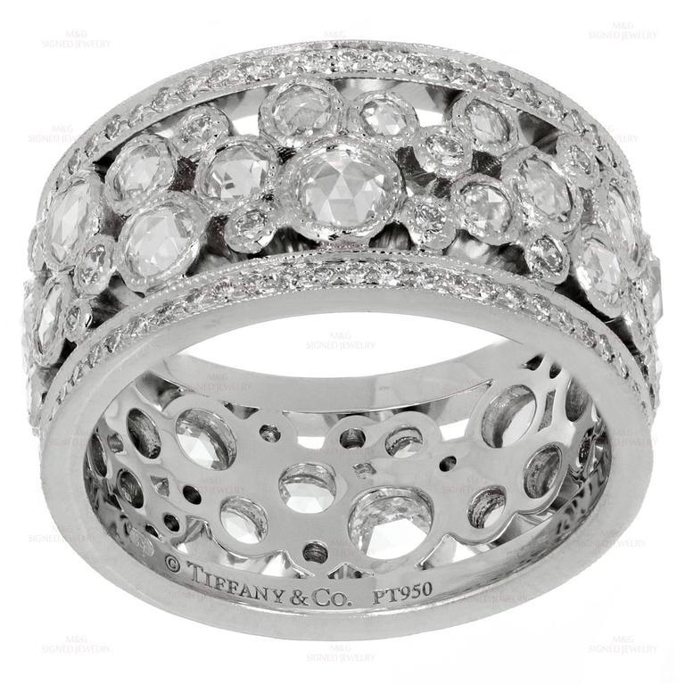 Tiffany And Co Cobblestone Diamond Platinum Band Ring For