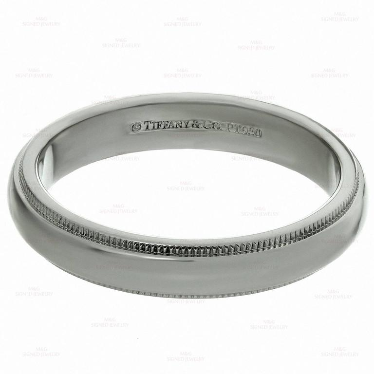 Tiffany And Co Platinum Milgrain Mens Wedding Band Ring For Sale At 1stdibs