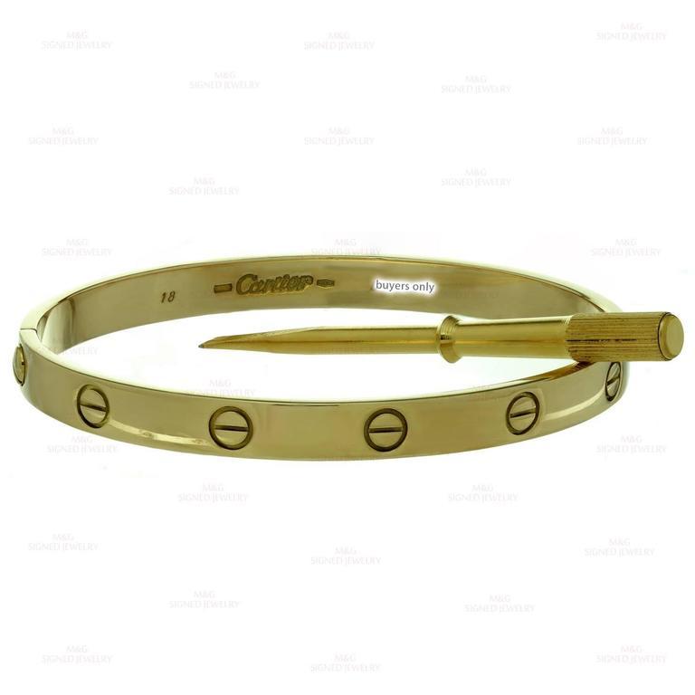 Cartier Gold Love Bangle Bracelet For Sale 1