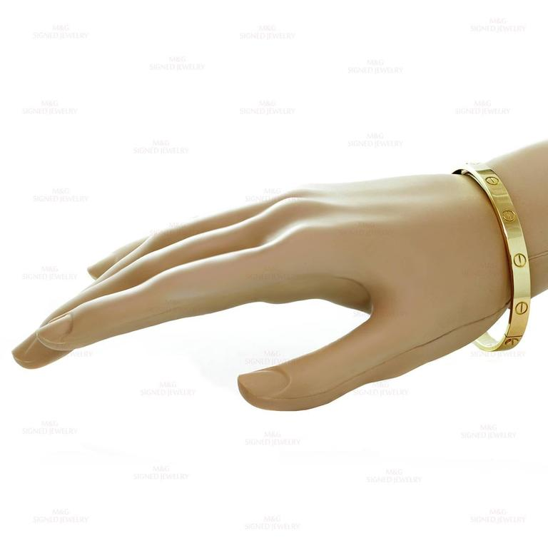 Cartier Gold Love Bangle Bracelet In Excellent Condition For Sale In New York, NY