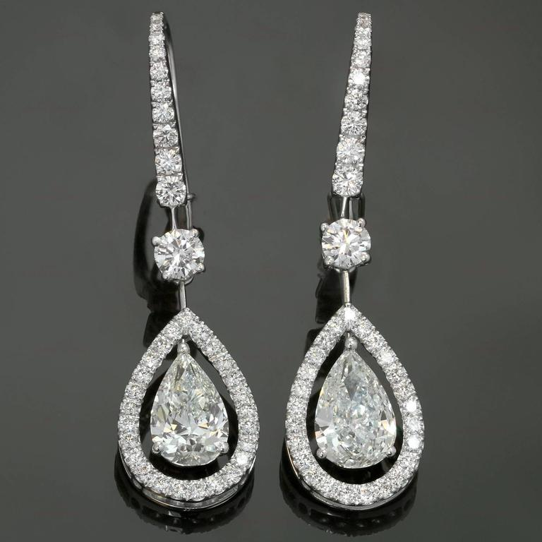 These Exquisite Drop Earrings By Graff Are Crafted In 18k White Gold And Set With 2