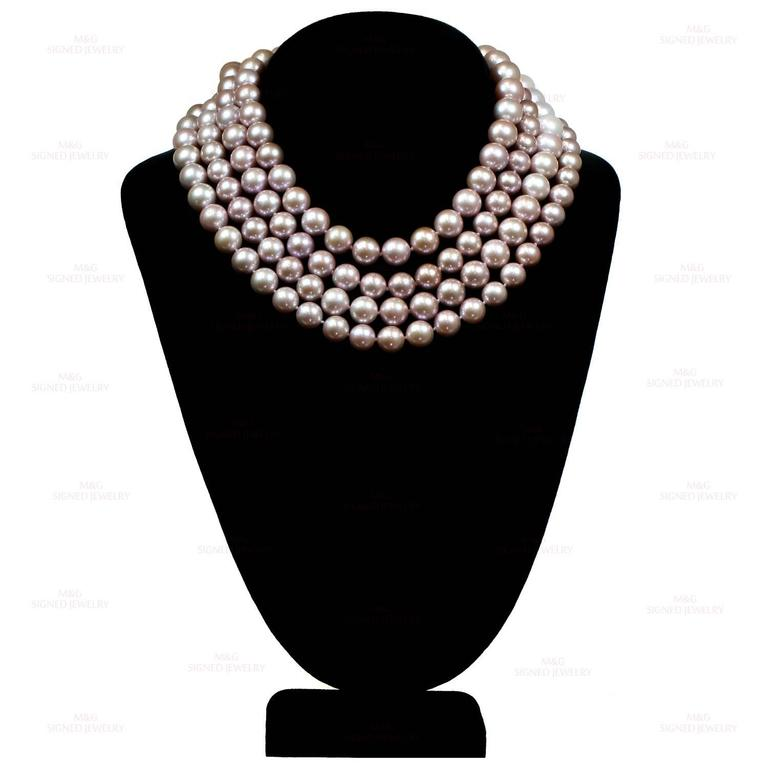 Women's Double Opera Diamond South Sea Freshwater Pink Pearl Necklace For Sale