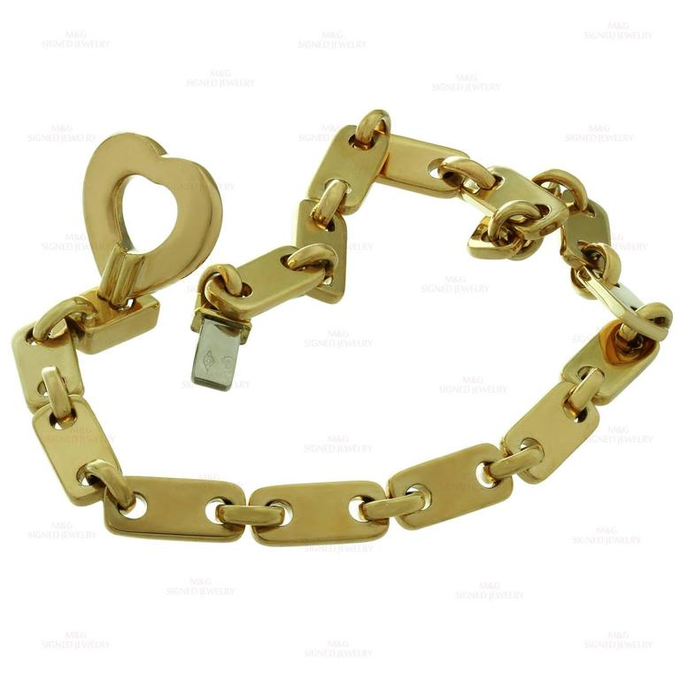 Cartier Fidelity Yellow Gold Heart Key Bar Link Bracelet In Excellent Condition For New