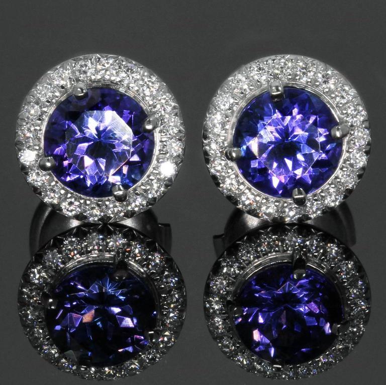 Tiffany Co Seleste Tanzanite Diamond Platinum Stud Earrings For 2