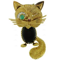 1950s Van Cleef & Arpels Chat Malicieux Diamond Emerald Onyx Winking Cat Broo