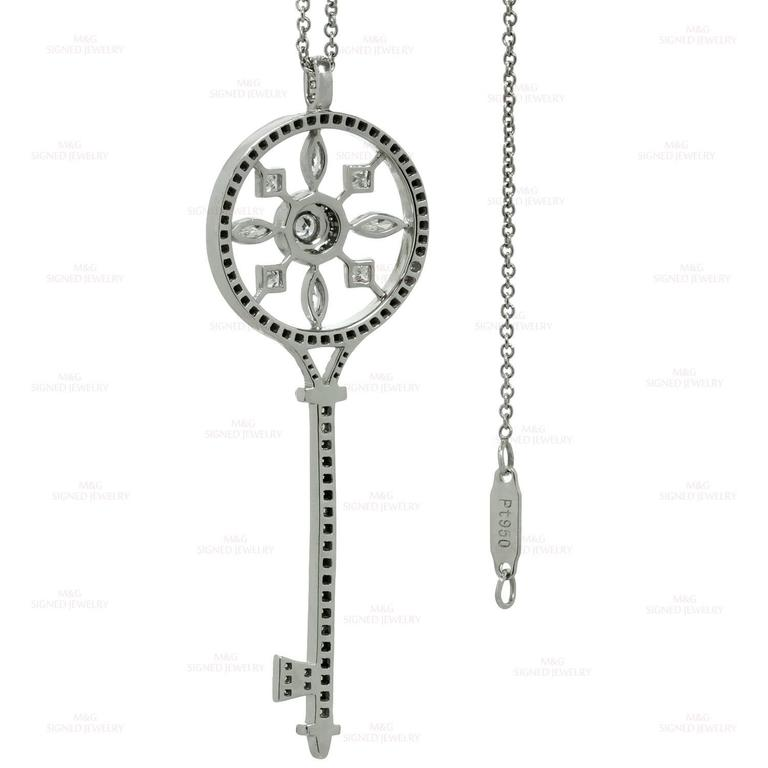 Tiffany & Co. Kaleidoscope Diamond Platinum Key Pendant Chain Necklace 6