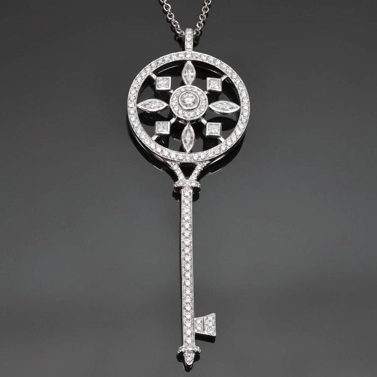 Tiffany & Co. Kaleidoscope Diamond Platinum Key Pendant Chain Necklace 2