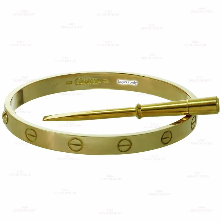 Cartier Yellow Gold Love Bangle Bracelet For Sale 1