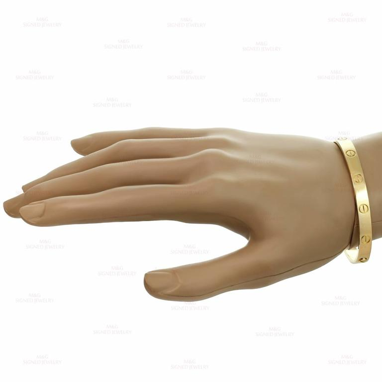 Women's Cartier Yellow Gold Love Bangle Bracelet For Sale