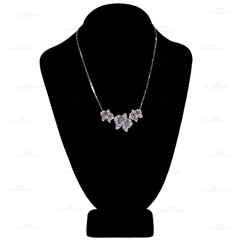 CARTIER Caresse D'Orchidees Diamond Sapphire Amethyst Necklace 4