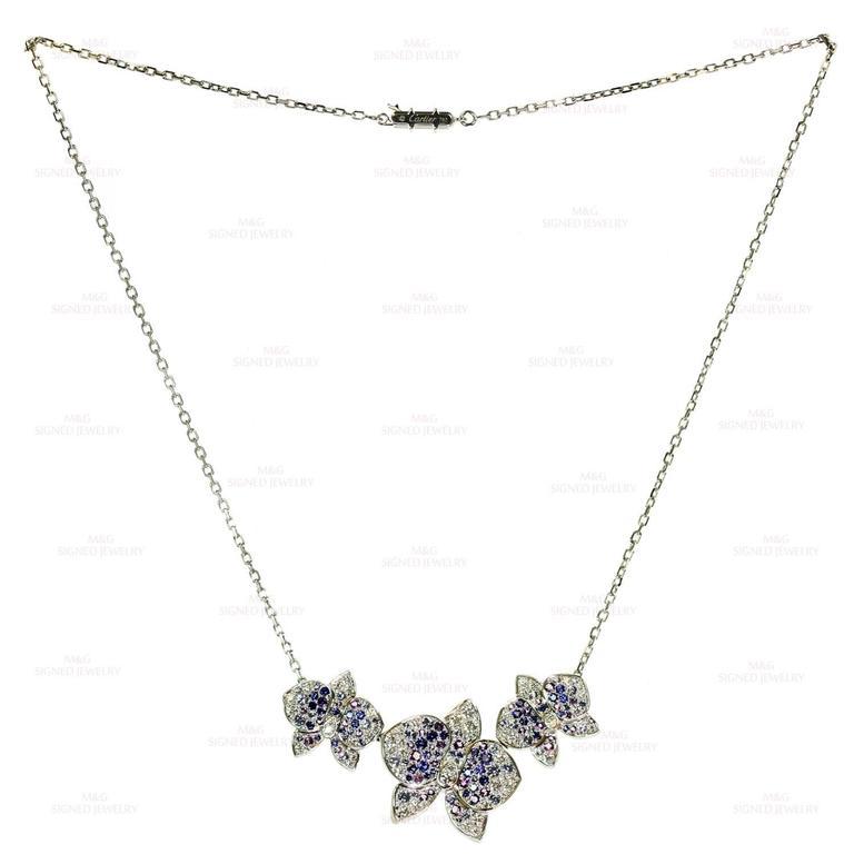 CARTIER Caresse D'Orchidees Diamond Sapphire Amethyst Necklace 6