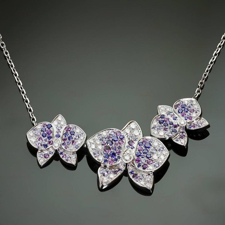 CARTIER Caresse D'Orchidees Diamond Sapphire Amethyst Necklace 2