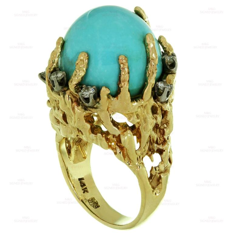 1960s Turquoise Diamond Nugget Yellow Gold Ring 5