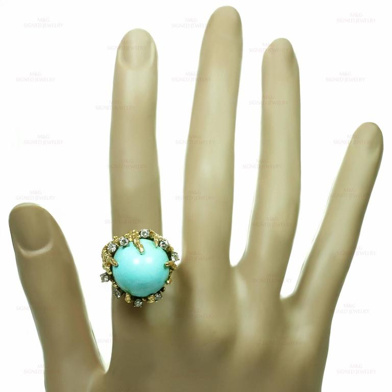 1960s Turquoise Diamond Nugget Yellow Gold Ring 3
